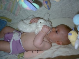 Ellie in Diaper with her Lamb